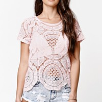 LA Hearts All Over Crochet Boxy Top - Womens Tee