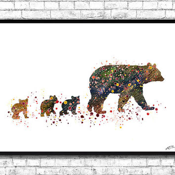Mom & Baby Bears 2 Watercolor print Animal Wall decor Children Boy Girl Kids Baby Room Nursery Interior Decor Bedroom Bear poster Bear print