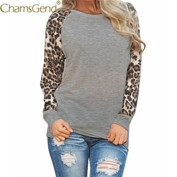 Chamsgend Shirts Plus Size Woman Leopard Print Long Sleeve Round Neck Blusa T-Shirt Women Ladies Oversize Tops 80201
