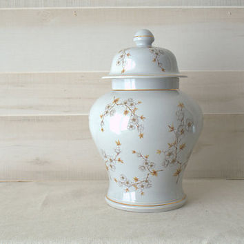 Large Ginger Jar, White Dogwood Urn, Hyalyn Pottery Dogwood Urn, Large Chinoiserie Urn, Hollywood Regency Decorative Urn