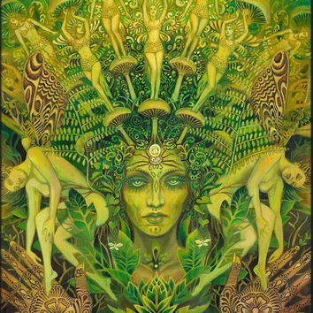 Dryad Forest Nymph Goddess Pagan Psychedelic Art ACEO Mini Print