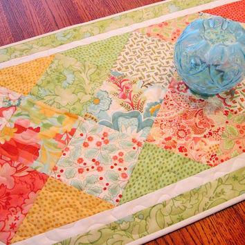 Table Runner Quilted in Moda's Mimi with Blue Green Coral and Yellow