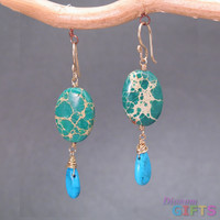 "Chrysocolla with turquoise, 1-1/2"" Earring Gold Or Silver"