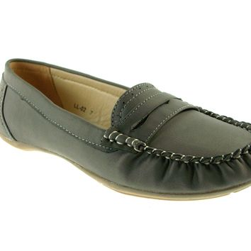 Women's Rocus Moccasin Slip On Penny Loafers Shoes LL-02 Grey