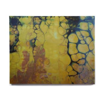 "Carol Schiff ""Golden Vein"" Gold Black Abstract Contemporary Painting Mixed Media Birchwood Wall Art"