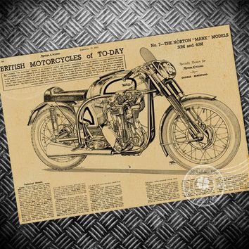 Free ship vintage poster retro old motorcycle painting classical wallpaper print picture wall art sticker photo 42x30cm
