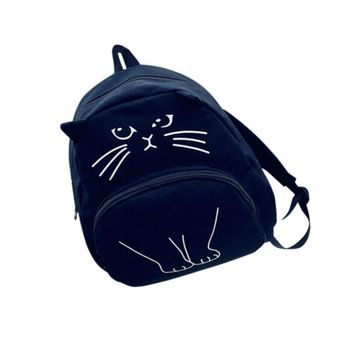 Girl's Canvas Lovely Cat Printed School Backpack