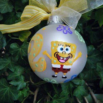 Sponge Bob Squarepants Birthday Party Ornament - Personalized Birthday Number TWO - Hand Painted Glass Ball, Second Birthday Bauble