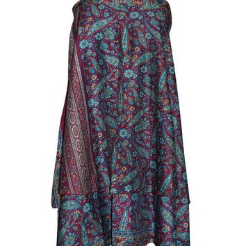 Women's Magic Wrap Skirts Pink/Blue PREMIUM Silk Sari Reversible Boho Beach Dress