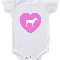 Victoria's Secret PINK inspired graphic toddler t or baby bodysuit long and short sleeves features VS dog in pink heart