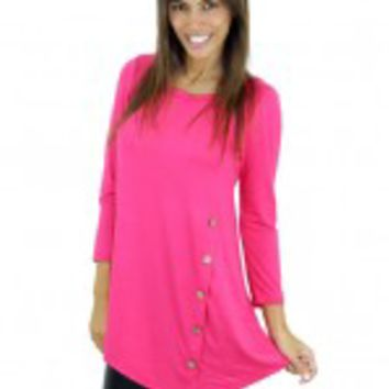 Pink Top With ¾ Sleeves And Buttons