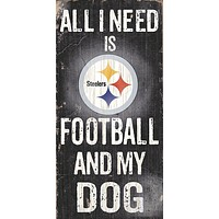 Pittsburgh Steelers Classic Fan and Dog Wood Sign