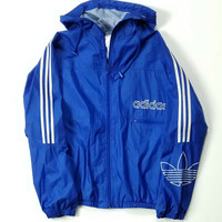 Adidas Trefoil Three Stripes Logo Windbreaker Jacket Adult Size XL