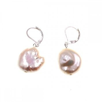 Natural white coin freshwater pearl stud earring for womens