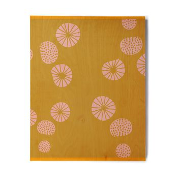 "bruxamagica ""Dandelion Mustard"" Yellow Pink Abstract Polkadot Digital Illustration Birchwood Wall Art"
