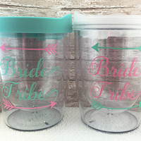 Bride Tribe Cups - Bachelorette Party Favors - Travel Wine Glass - Stemless Wine Glass - Bridal Party Tumblers - Personalized Wine Glass