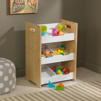 Angled Bin Unit - Natural with White Shelves