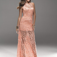 Dark Coral Lace Halter Low Back Prom Dress - Unique Vintage - Cocktail, Pinup, Holiday & Prom Dresses.