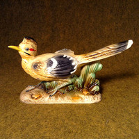 Ceramic Roadrunner Figure - Mid Century Decor - Herter's, Inc. Label - Japan - Handpainted