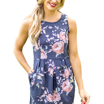 Navy Floral Sleeveless Short Dress LAVELIQ