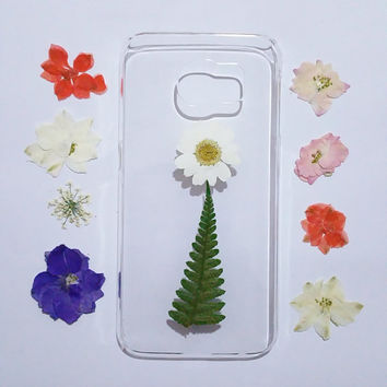Clear Galaxy S4 cover, Samsung Galaxy s5 cover, pressed flower s4 cover, Galaxy S6 edge cover clear, pressed flower samsung galaxy cover