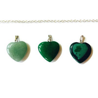 Three Heart Necklace, Gemstone Necklace 3 Hearts Necklace Jade necklace Healing Necklace Malachite Pendant Chakra necklace Green Pendant