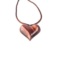 Wood Heart Necklace, Wooden Pendant, Hand Carved Pendant, Heart Pendant, Heart Jewelry, Heart Necklace, Wooden Heart Pendant, Wood Jewelry