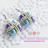 Multi Color Pearls Earrings, Turquoise Teal Purple Earrings, Glass Pearls, Seed Beads, Geometric Square, Gift Women Girls Teens Daughter