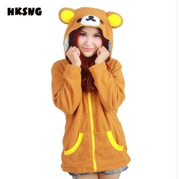HKSNG Autumn Winter Cartoon Rilakkuma Hoodies With Ears Warm Fleece Animal Bear Sweatshirts Plus Size Coat Kigurumi