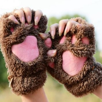Fuzzy Brown Pink Paw Rave Gloves