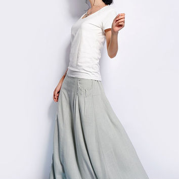 Gray Circle Skirt - women long skirt with big pocket detail - Gray and Red (BQ84)