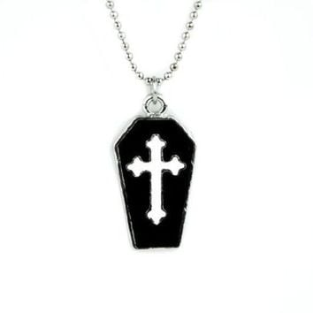 ac spbest Small Coffin Necklace with White Cross