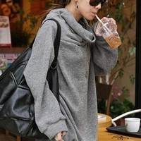 Women's Winter Grey Korean Style Wool Casual Pullovers Hoodies (Size: L) (Color: Grey)
