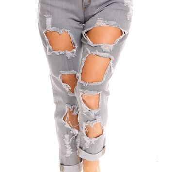 LIGHT BLUE DISTRESSED STRETCHY CAUSAL JEANS