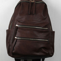 Double Zip Vegan Leather Backpack