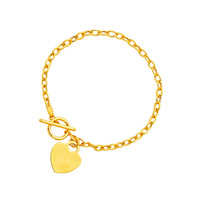 Toggle Bracelet with Heart Charm in 14K Yellow Gold - Style 2