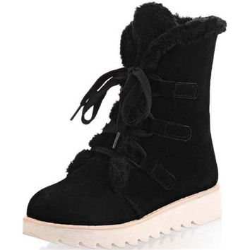 Women Winter Boots Fashion Lace-Up Women Boots Round Toe Snow Boots Women Ankle Boot Flat Heels Winter Shoes Warm  Shoes