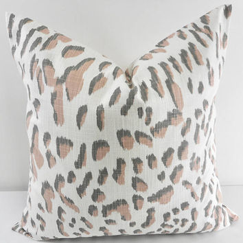 Blush pink & Grey  pillow cover. Lawson Print Pillow cover. Throw pillow cover. Cotton. Sham Pillow case. Select your size.