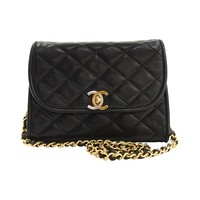 1990s Chanel Black Quilted Lambskin Limited Edition Flap Bag