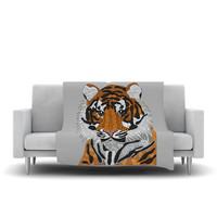 "Art Love Passion ""Tiger"" Gray Orange Fleece Throw Blanket"