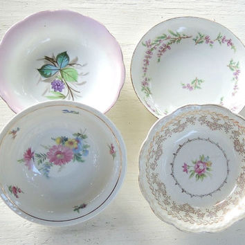 Mismatched Cottage Style Dessert Bowls Set of 4 Bowls, Tea Party, Sauce Bowls, Wedding, Berry Bowls, Vintage, Housewarming Gift Inspired