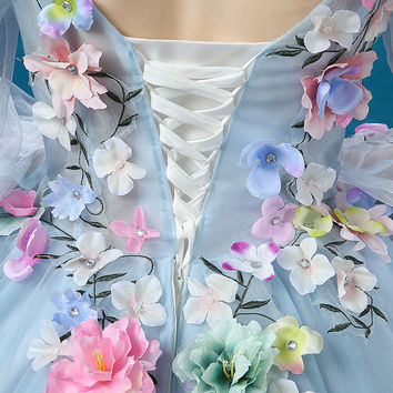 ALL SIZES FLORAL Ball Gown Prom Puffy Dress Blue Formal Pageant Quinceanera Homecoming Princess