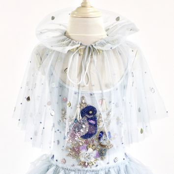 DOLLY by Le Petit Tom ® BLUE BIRD cape light blue