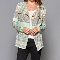Aztec pattern all over long sleeve cardigan