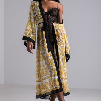 AKIRA Printed Sheer Long Duster Cardigan in White Yellow