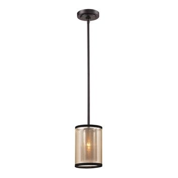 Diffusion 1 Light Mini Pendant Oil Rubbed Bronze Beige Organza Drum Shade