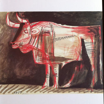 "Pablo Picasso 1972 Vintage Lithograph Signed on the Plate Entitled ""Taureau"", c. 1955 - From Sari Heller Gallery - A Classic Picasso!"