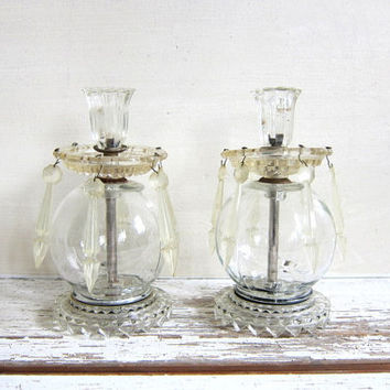 vintage glass candle holders with faux hanging crystals- shabby cottage chic decor - elegant