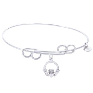 Sterling Silver Carefree Bangle Bracelet With Claddagh Charm