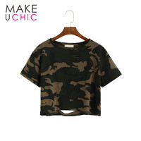MAKEUCHIC Apparel Women T-shirt Casual Camouflage Crew Neck Female Crop Tops Streetwear Shaping Hollow Out Slim Short Tee